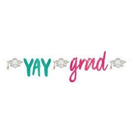 Yay Grad Glitter Script Letter Banner 12'