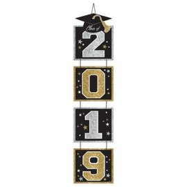 2019 Vertical Door Decoration - Black, Silver, Gold
