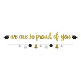 Proud Parent Letter Banner Kit - Black, Silver, Gold