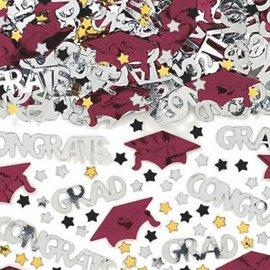 School Colors Embossed Metallic Confetti - Berry 2 1/2oz.