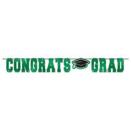 School Colors Large Foil Letter Banner - Green 12'