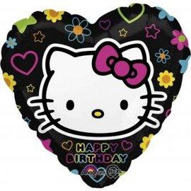 """Happy Birthday Hello Kitty Heart Balloon, 18"""""""