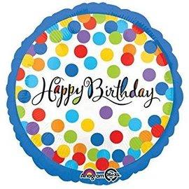 "Happy Birthday Confetti Bash Balloon, 18"" (#76)"