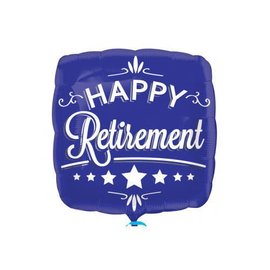 "Happy Retirement Blue and White Balloon, 18"" (#77)"