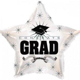 """Congrats Grad Star Balloon- White, 19"""""""