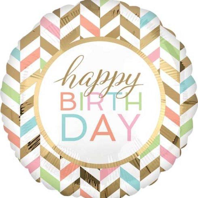 "Happy Birthday Pastel Balloon, 28"""