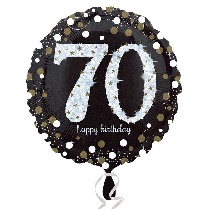 Sparkling 70th Birthday Balloon, 18""