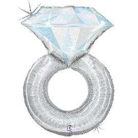 Platinum Diamond Ring Balloon, 38""