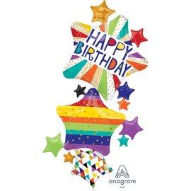 "Happy Birthday Bright Stars Balloon, 67"" (#261)"