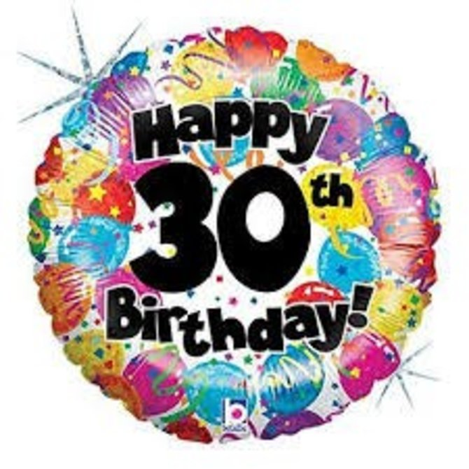 "Happy 30th Birthday Party Balloon, 18"""