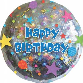 "Happy Birthday Holographic Balloon, 18"""