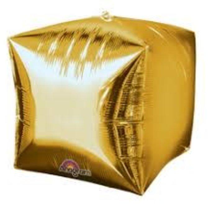 "Cubez Gold Balloon, 15"""