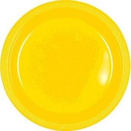 """Yellow Sunshine Plastic Plate, 9"""", 20ct"""