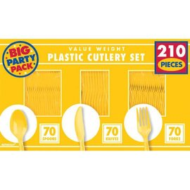 Yellow Sunshine Value Window Box Cutlery Set, 210ct     70 forks 70 spoons 70 knives
