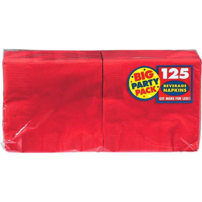 Apple Red Big Party Pack Beverage Napkins 125ct