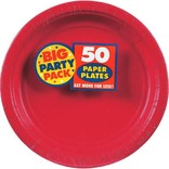 "Apple Red Big Party Pack Paper Plates, 7"" 50ct"