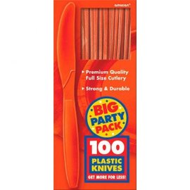 Big Party Pack Orange Peel Plastic Knives, 100ct