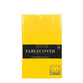 Yellow Sunshine Round Plastic Table Cover, 84""