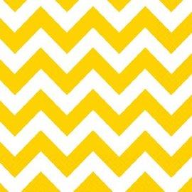 Yellow Sunshine Chevron Beverage Napkins 16ct