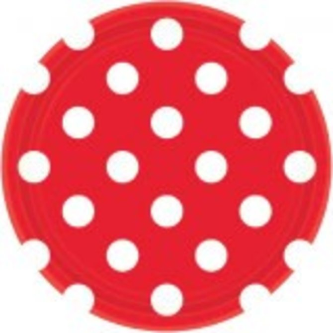 "Apple Red Dots, 7"" Plates 8ct"