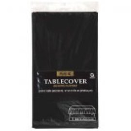 "Jet Black Rectangular Plastic Table Cover, 54"" x 108"""