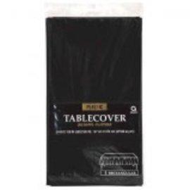 "Jet Black Rectangular Plastic Table Cover, 54"" x 108"""