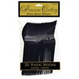 Jet Black Premium Heavy Weight Plastic Spoons 20ct