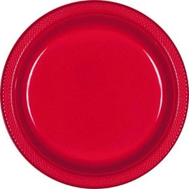 "Apple Red Plastic Plates, 9"" 20ct"