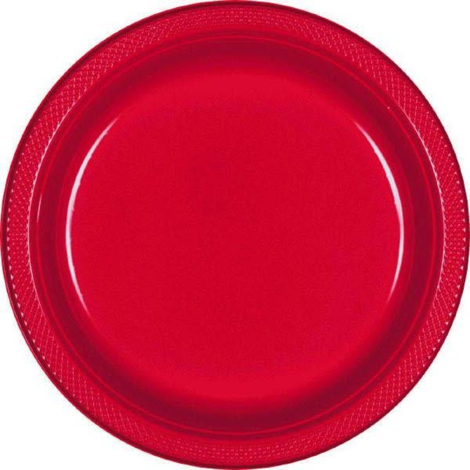 "Apple Red Plastic Plates, 9"" 20ct"