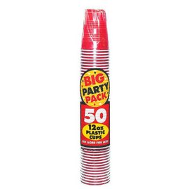 Apple Red Big Party Pack Plastic Cups, 12 oz