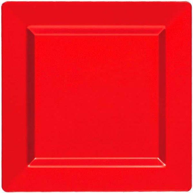 """Apple Red Premium Plastic Square Plates, 10"""""""