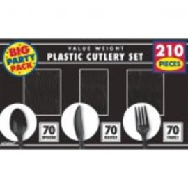 Jet Black Value Window Box Cutlery Set, 210ct