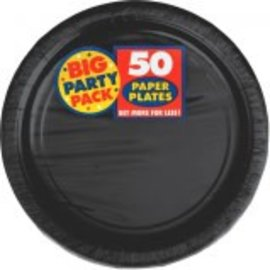 "Jet Black Big Party Pack Paper Plates, 9"" 50ct."