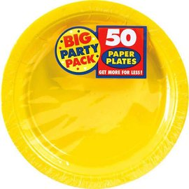 "Yellow Sunshine Big Party Pack Paper Plates, 9"" 50ct"