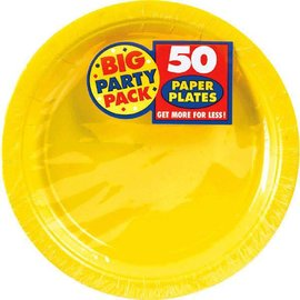 "Yellow Sunshine Big Party Pack Paper Plates, 7"" 50ct"