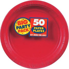 "Apple Red Big Party Pack Paper Plates, 9"" 50ct"