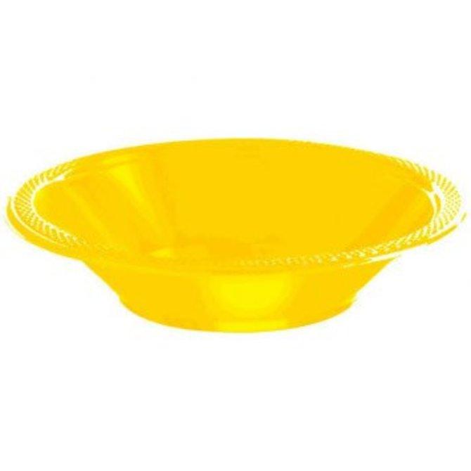 Sunshine Yellow Plastic Bowl 12oz, 20ct