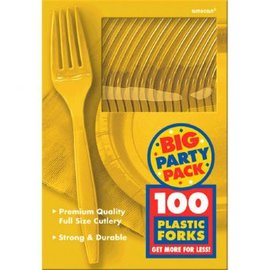 Big Party Pack Yellow Sunshine Plastic Forks, 100ct