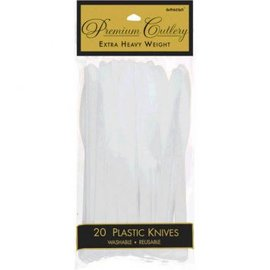 Clear Premium Heavy Weight Plastic Knives 20ct