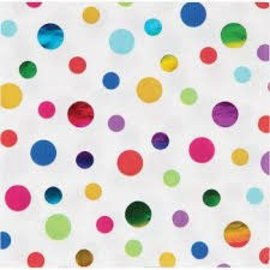 Rainbow Polka Dot Foil Luncheon Napkins-16ct