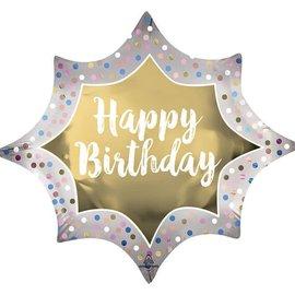 "Happy Birthday Gold Burst Balloon, 35"""
