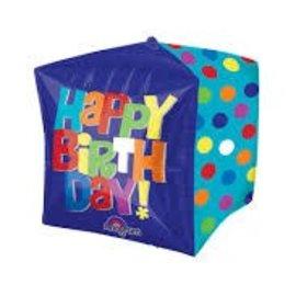 "Bright Happy Birthday Cubez Balloon, 15"" (#122)"