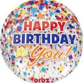 "Happy Birthday Confetti Orbz Balloon, 16"""