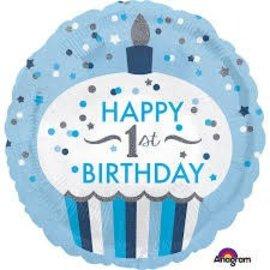 "Baby's 1st Birthday Blue Balloon, 18"" (#125)"