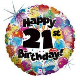 "Happy 21st Birthday Party Balloon, 18"""