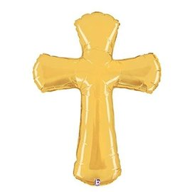 "Gold Cross Shape Balloon, 44"" (#194)"
