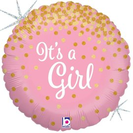 "It's a Girl Glitter Balloon, 18"" (#129)"