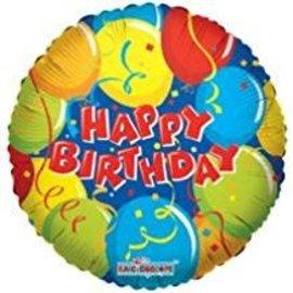 """Happy Birthday Balloons Blue Balloon, 18"""""""