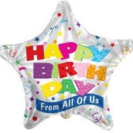 "Happy Birthday Star Balloon, 18"""