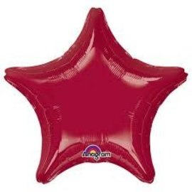 "Dark Metallic Burgundy Star Balloon, 19"""
